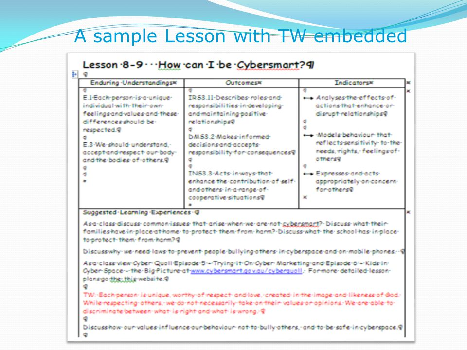 A sample Lesson with TW embedded