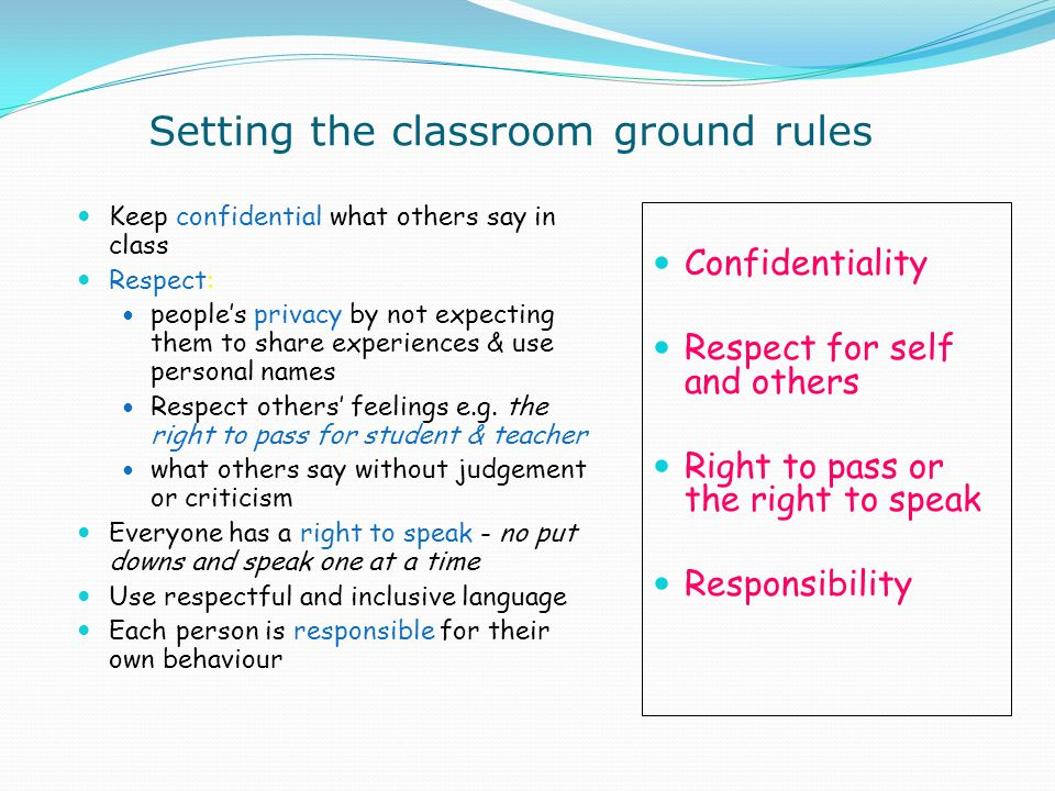 Setting the classroom ground rules