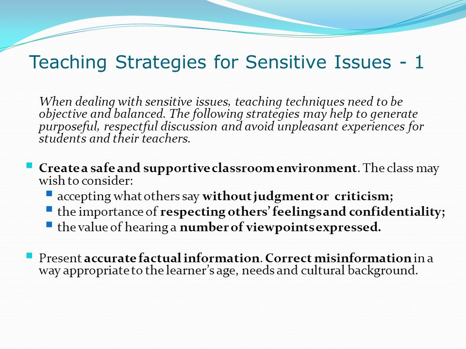 Teaching Strategies for Sensitive Issues - 1