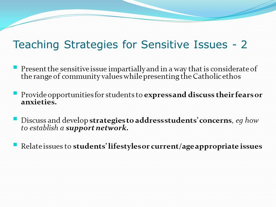 Teaching Strategies for Sensitive Issues - 2