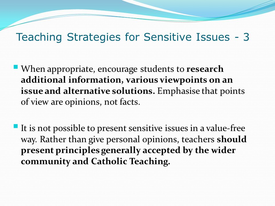 Teaching Strategies for Sensitive Issues - 3