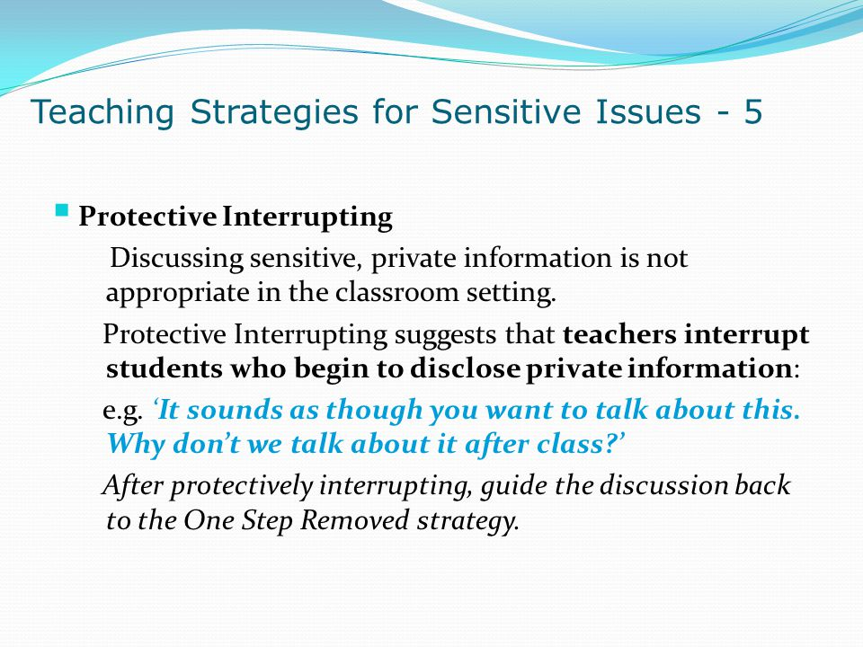 Teaching Strategies for Sensitive Issues - 5
