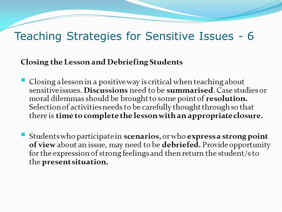 Teaching Strategies for Sensitive Issues - 6