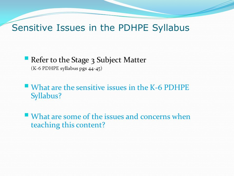 Sensitive Issues in the PDHPE Syllabus