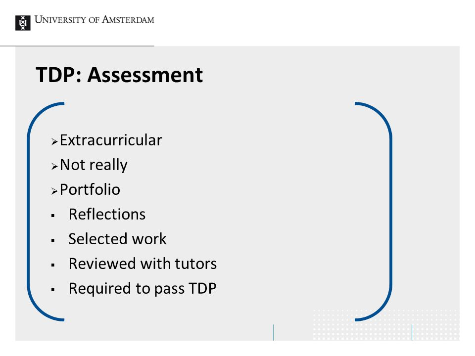 TDP: Assessment Extracurricular Not really Portfolio Reflections