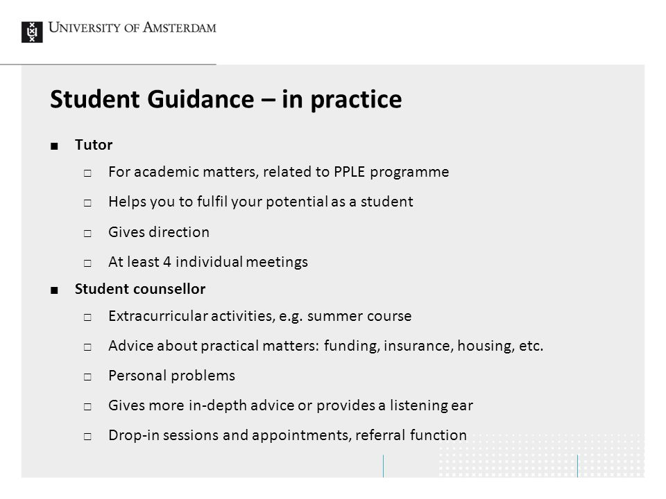 Student Guidance – in practice