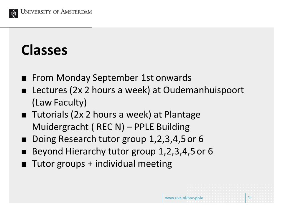 Classes From Monday September 1st onwards