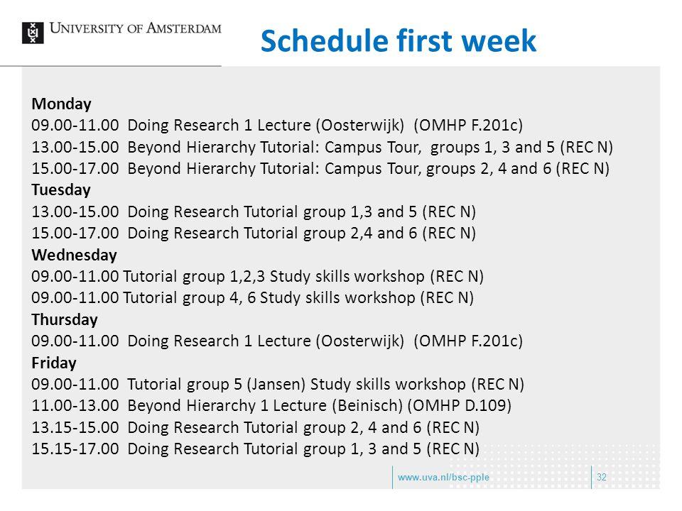 Schedule first week Monday