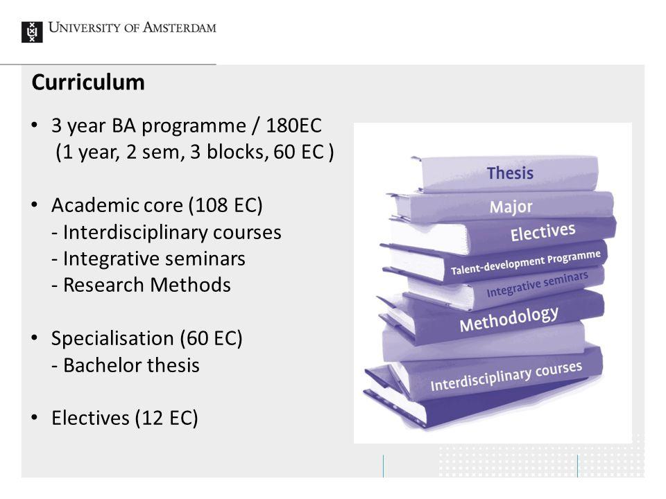 Curriculum 3 year BA programme / 180EC