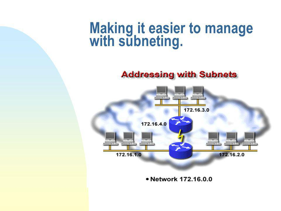 Making it easier to manage with subneting.