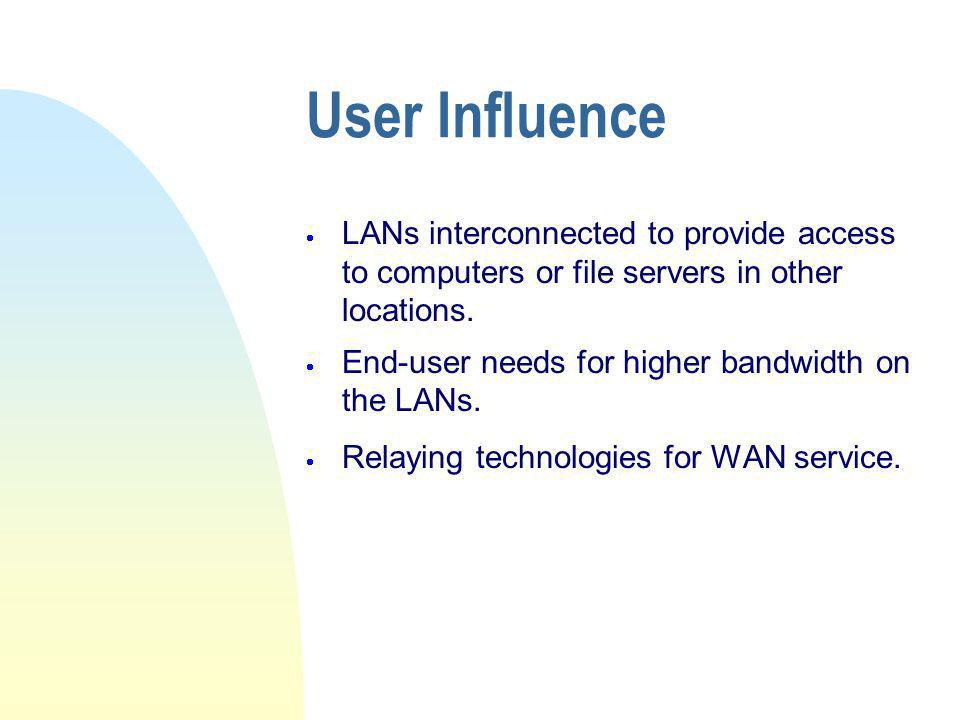 User Influence LANs interconnected to provide access to computers or file servers in other locations.