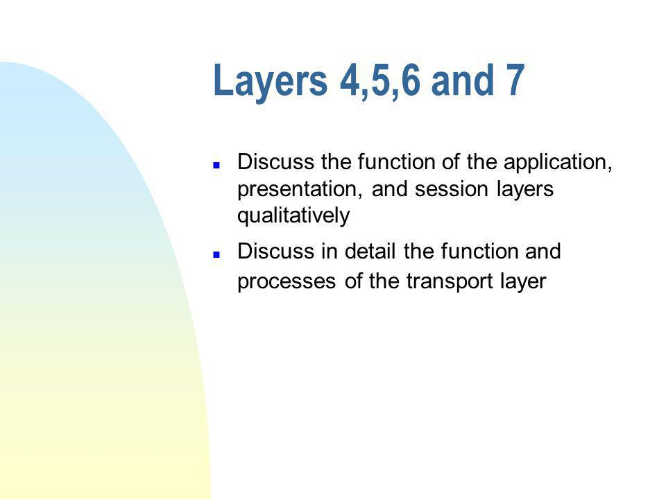 Layers 4,5,6 and 7 Discuss the function of the application, presentation, and session layers qualitatively.