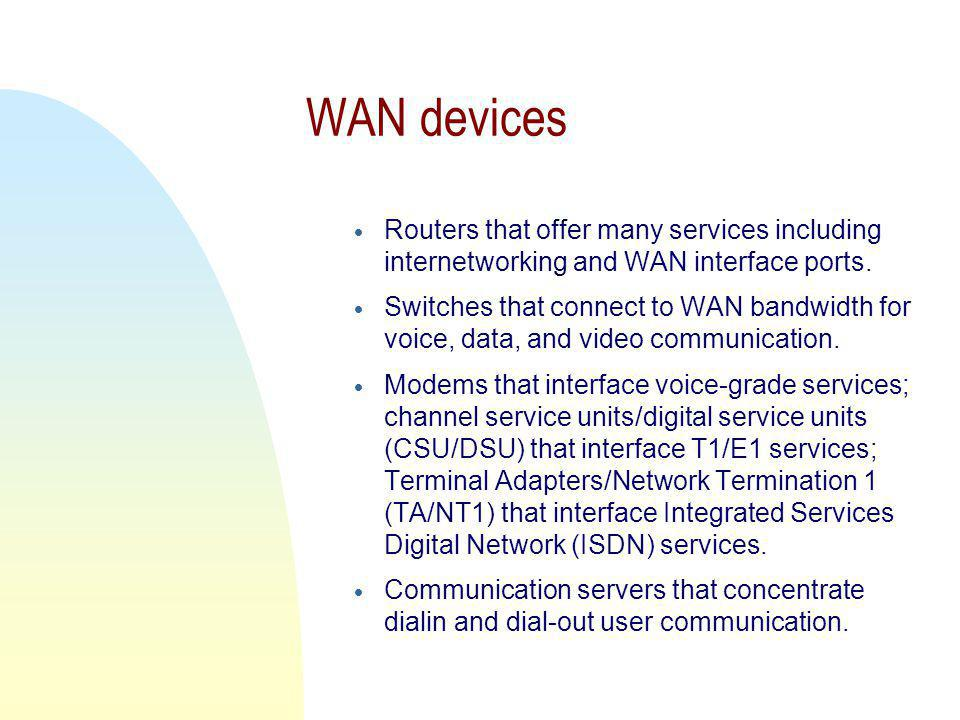 WAN devices Routers that offer many services including internetworking and WAN interface ports.