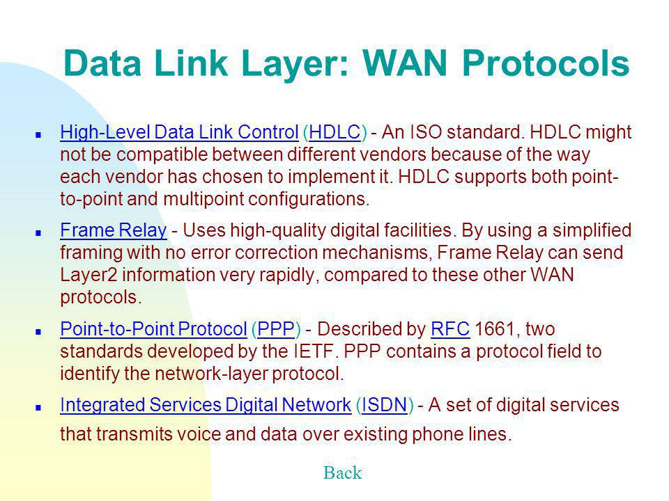 Data Link Layer: WAN Protocols