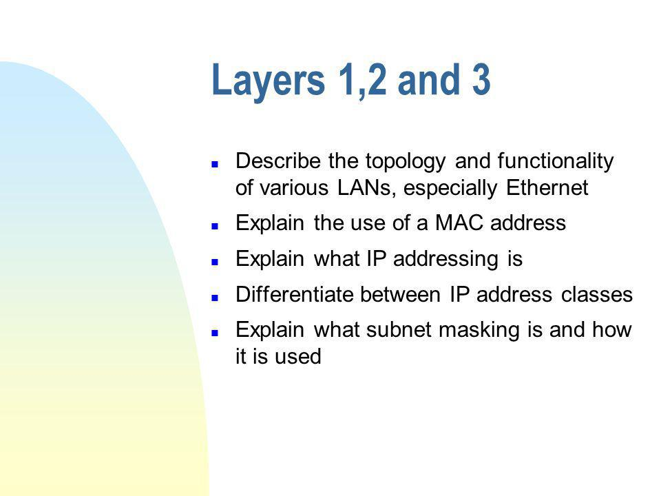 Layers 1,2 and 3 Describe the topology and functionality of various LANs, especially Ethernet. Explain the use of a MAC address.