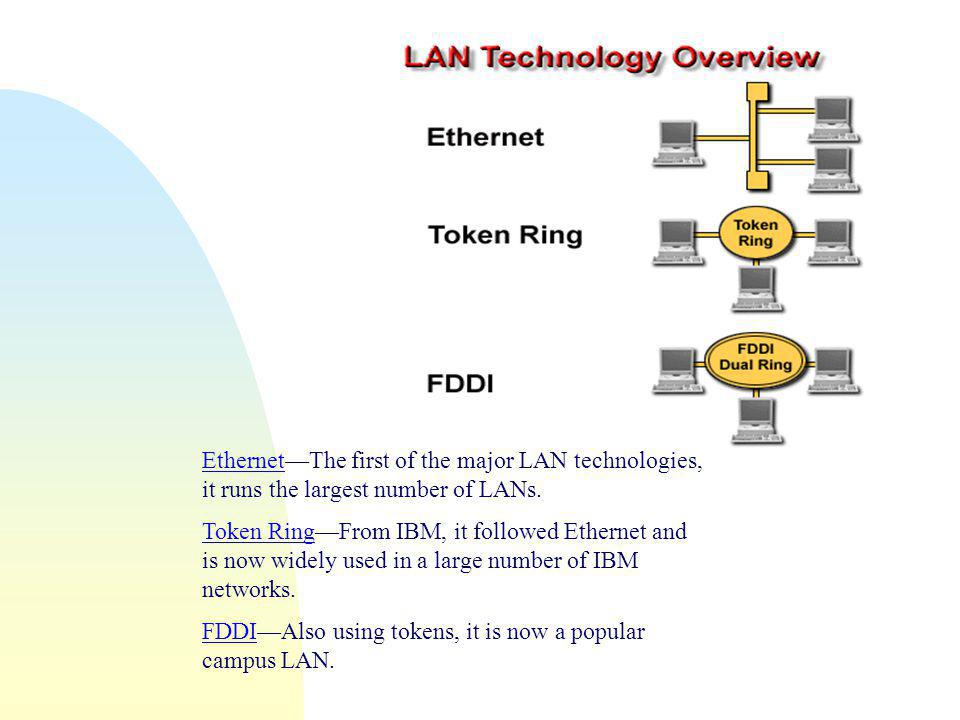 Ethernet—The first of the major LAN technologies, it runs the largest number of LANs.