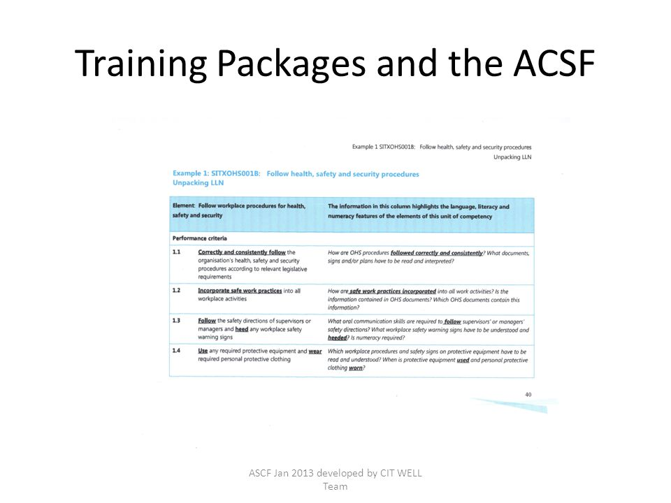 Training Packages and the ACSF