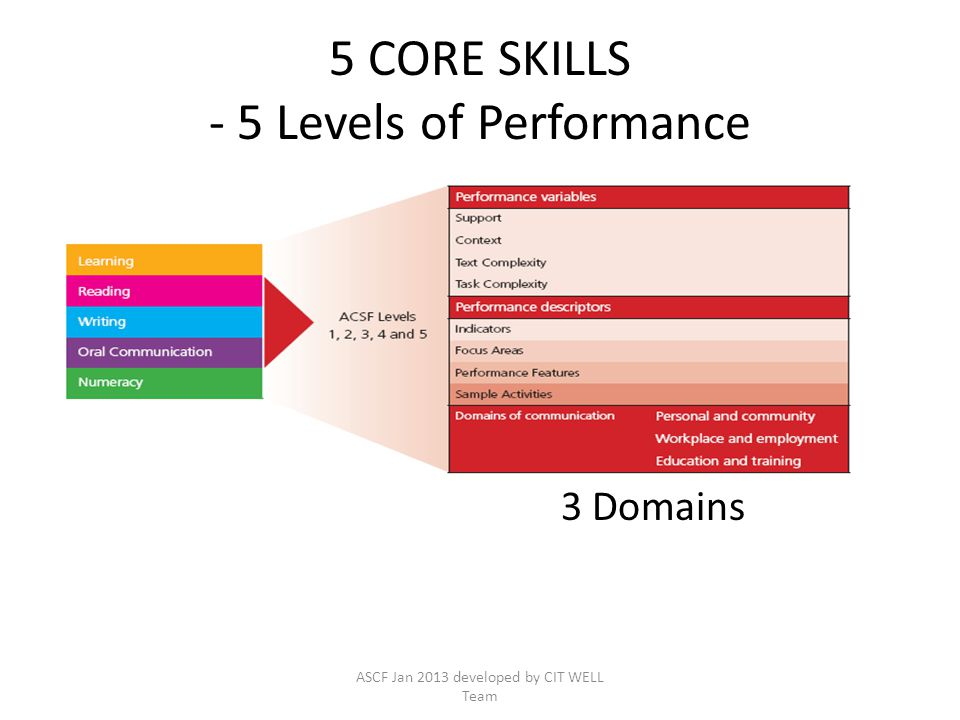 5 CORE SKILLS - 5 Levels of Performance