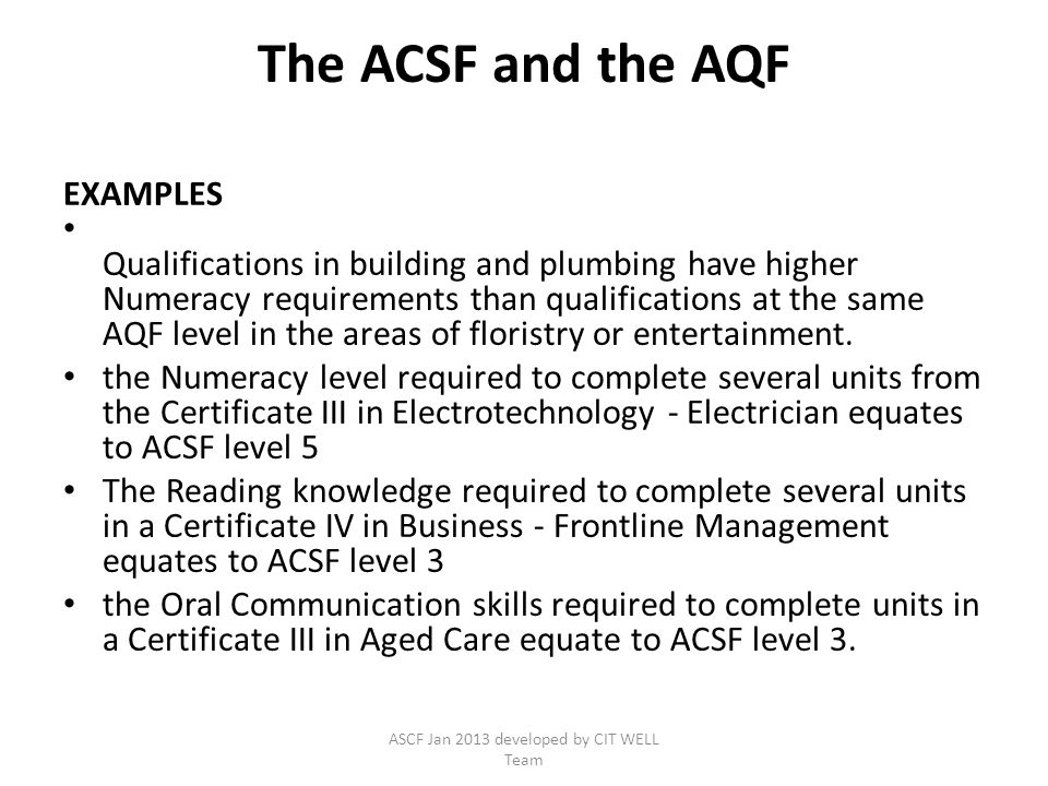 ASCF Jan 2013 developed by CIT WELL Team