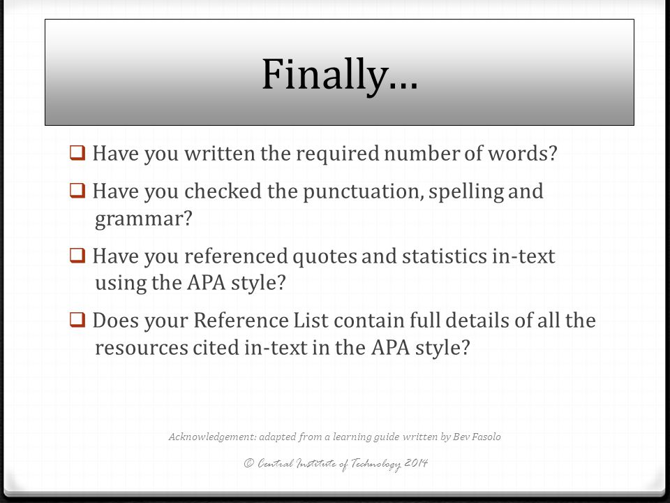 Finally… Have you written the required number of words