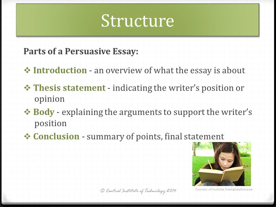 parts of a persuasive essay