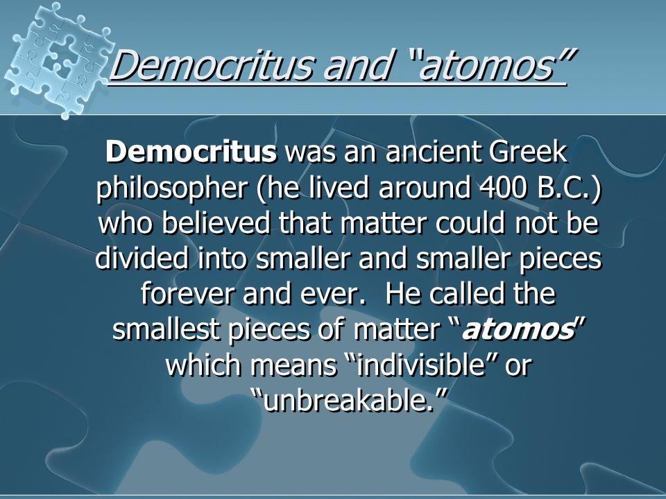 Democritus and atomos