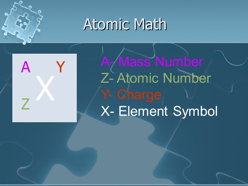 X Atomic Math A Y Z A- Mass Number Z- Atomic Number Y- Charge