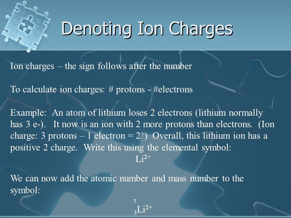 Denoting Ion Charges Ion charges – the sign follows after the number