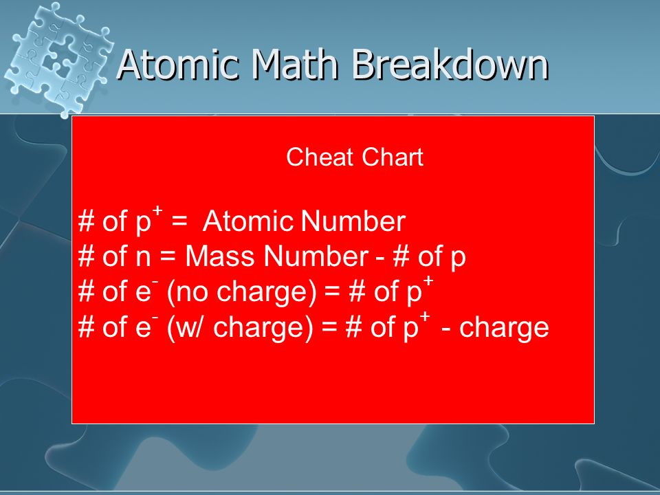 Atomic Math Breakdown # of p+ = Atomic Number