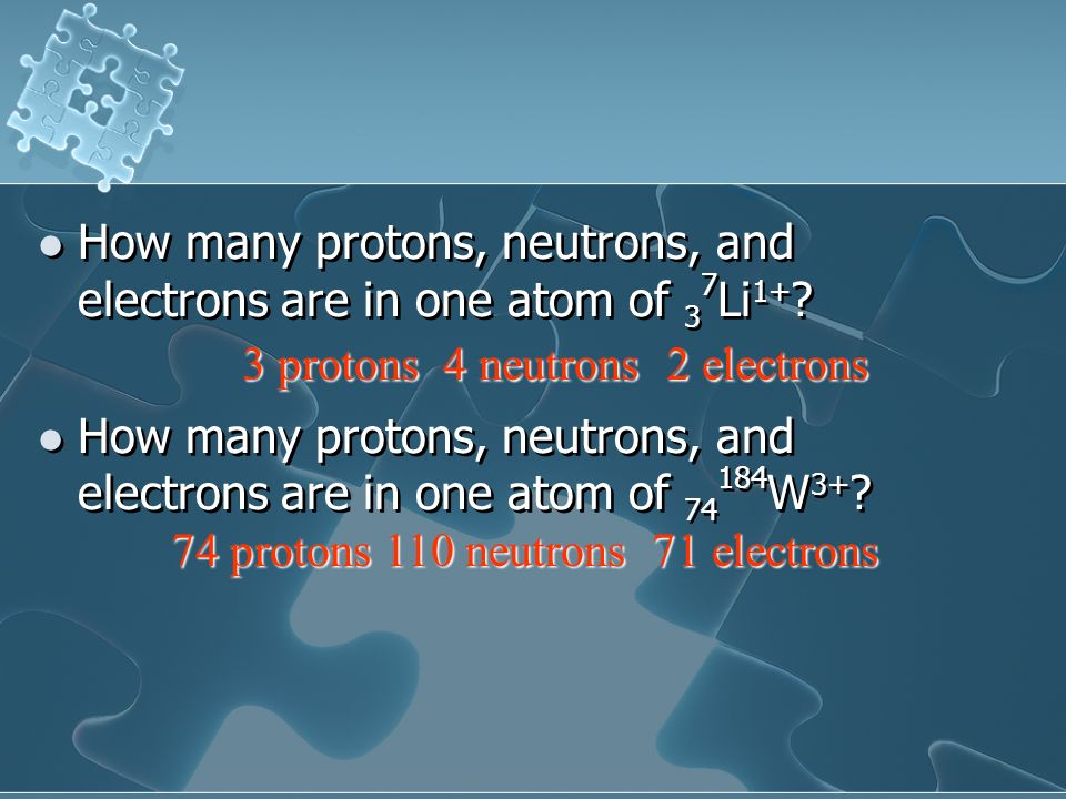 How many protons, neutrons, and electrons are in one atom of 37Li1+