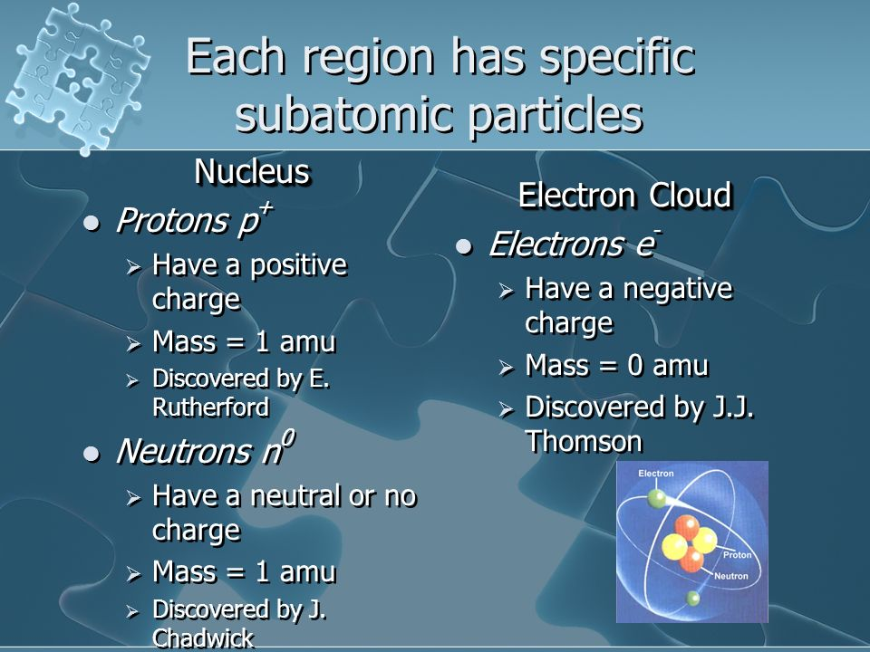 Each region has specific subatomic particles