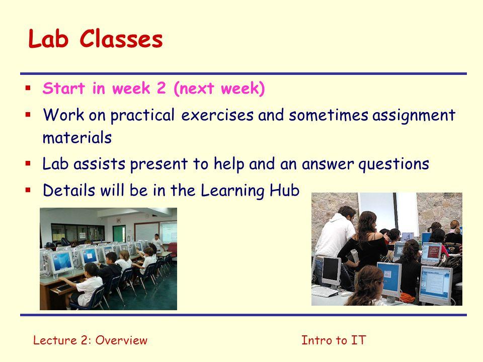 Lab Classes Start in week 2 (next week)