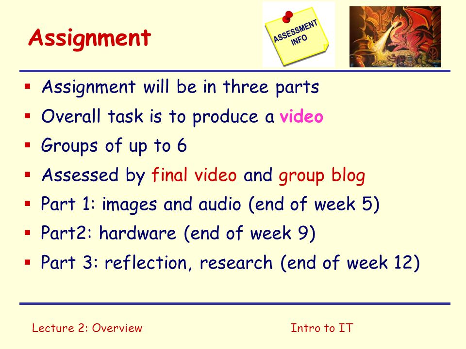 Assignment Assignment will be in three parts