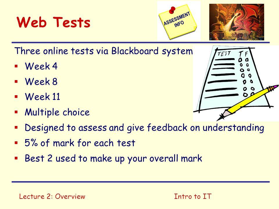 Web Tests Three online tests via Blackboard system Week 4 Week 8