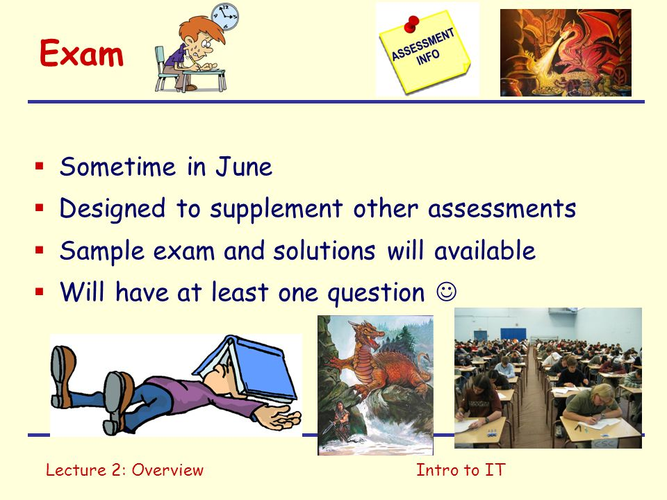 Exam Sometime in June Designed to supplement other assessments