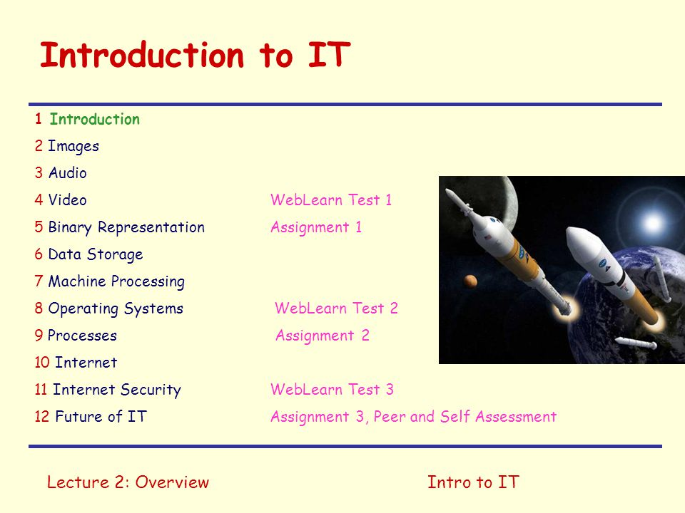 Introduction to IT Lecture 2: Overview Intro to IT