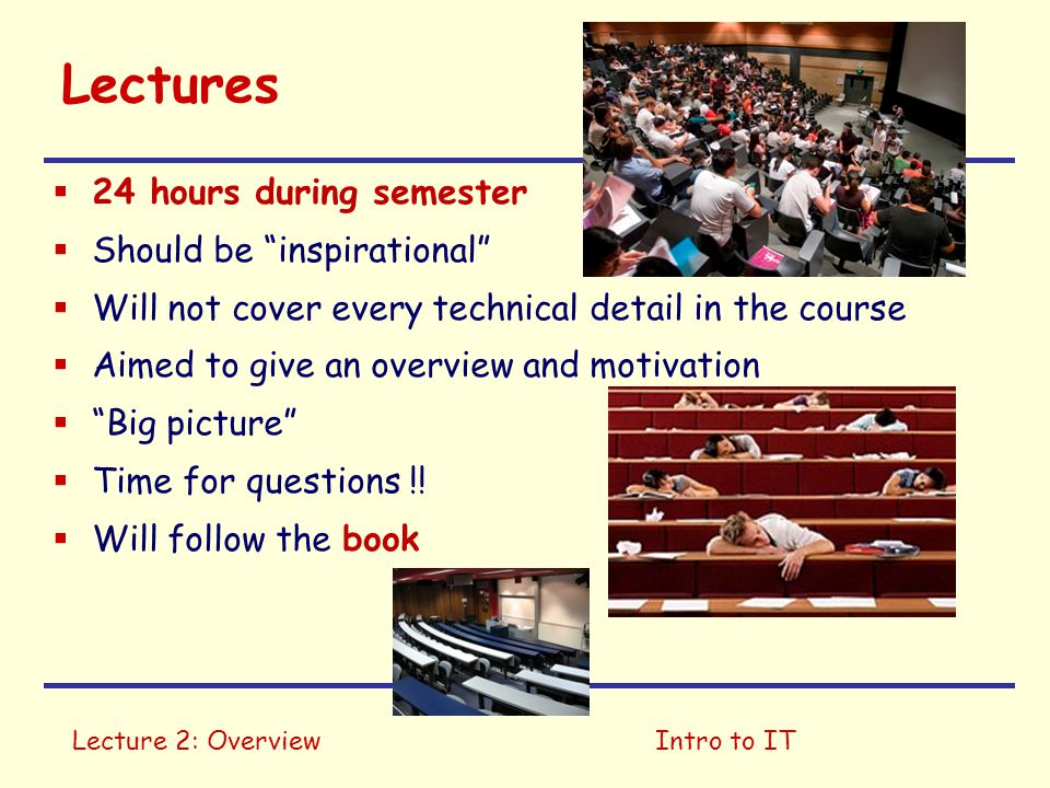 Lectures 24 hours during semester Should be inspirational
