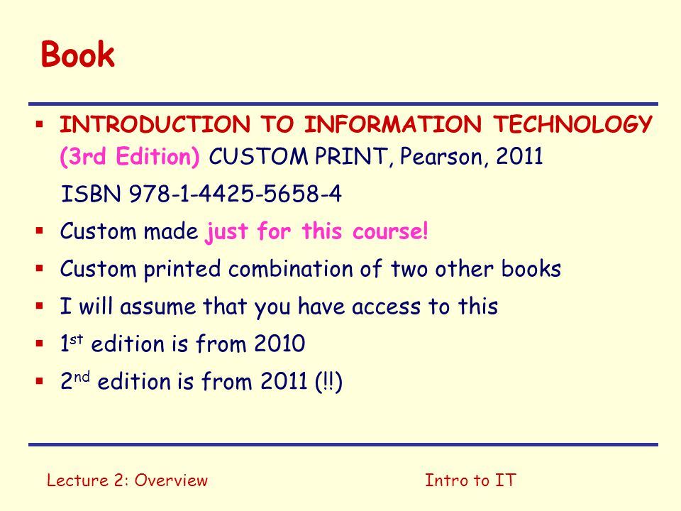 Book INTRODUCTION TO INFORMATION TECHNOLOGY (3rd Edition) CUSTOM PRINT, Pearson, 2011. ISBN 978-1-4425-5658-4.