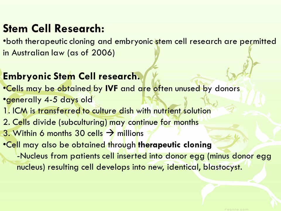 Stem Cell Research: Embryonic Stem Cell research.