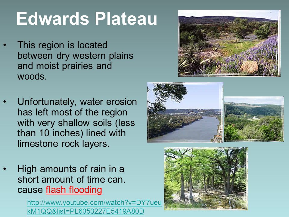 Edwards Plateau This region is located between dry western plains and moist prairies and woods.