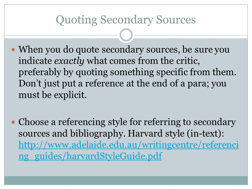 Quoting Secondary Sources