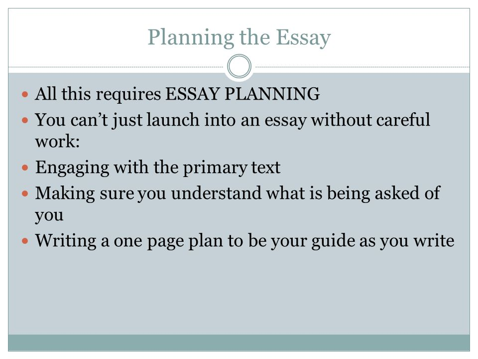 Planning the Essay All this requires ESSAY PLANNING