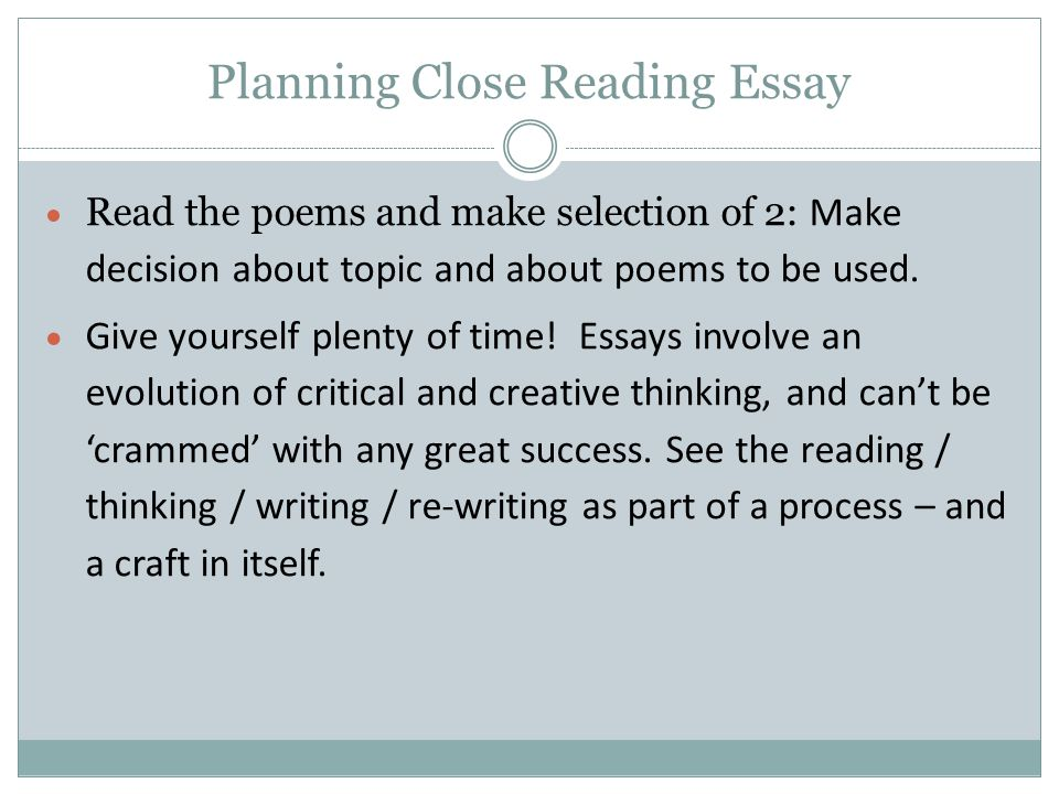 Planning Close Reading Essay