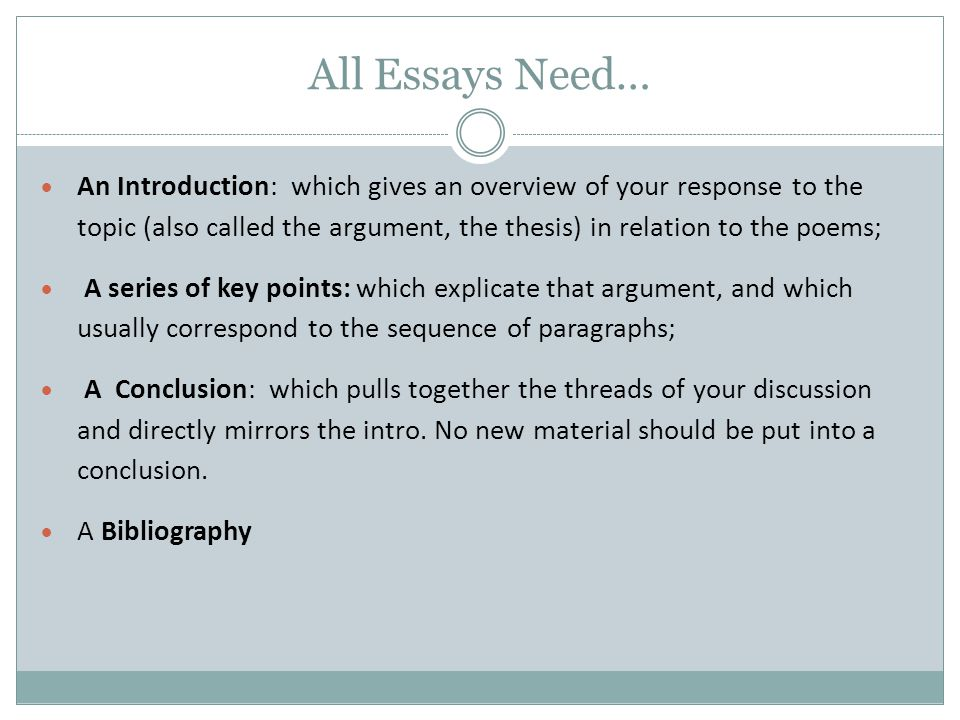 All Essays Need…