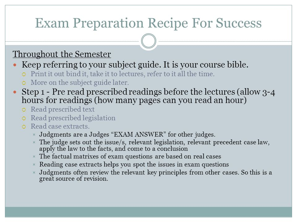 Exam Preparation Recipe For Success