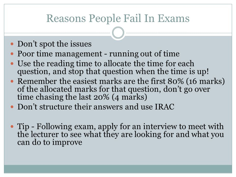 Reasons People Fail In Exams