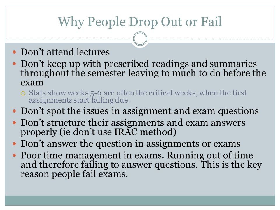 Why People Drop Out or Fail