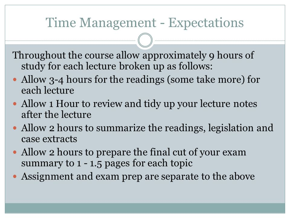 Time Management - Expectations