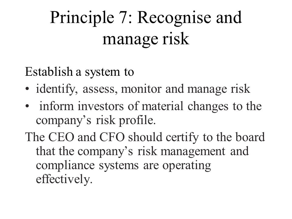 Principle 7: Recognise and manage risk