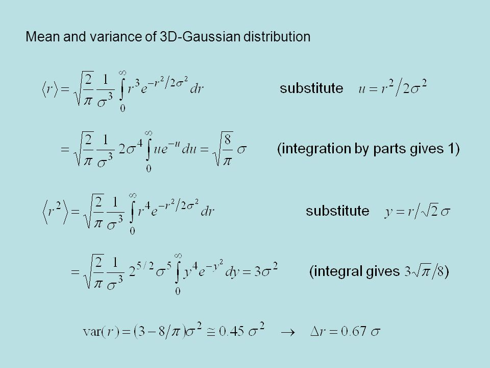 Mean and variance of 3D-Gaussian distribution